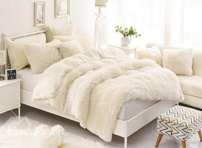 Solid Creamy White Soft Luxury 4 Piece Fluffy Bedding Sets Duvet Cover Fluffy Bedding Bed Linens Luxury Bedding Sets