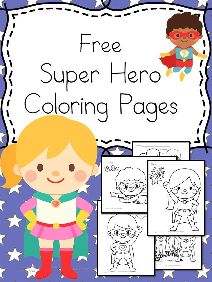 Preschool or Kindergarten Activity:  Free Superheroes Coloring Pages for preschool or kindergarten - Large, easy coloring page  drawings will help with fine motor practice and control.