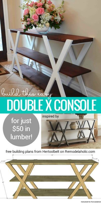 Free building plan for this easy double X console table. Make it longer or shorter to fit your space, and paint or stain it to be more modern or more rustic! Building plan from Hertoolbelt on Remodelaholic.com