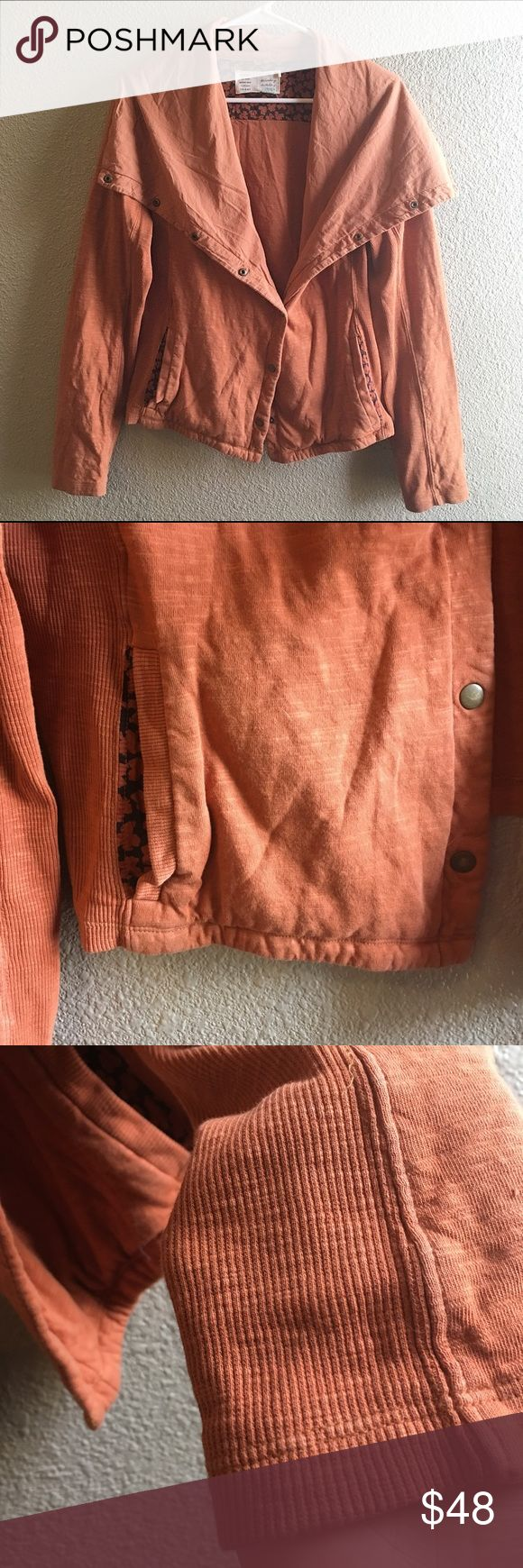 Anthropologie Saturday Sunday Fall Jacket Sweater type material jacket with snap closures. A great rust orange EUC 💕 Anthropologie Jackets & Coats Utility Jackets