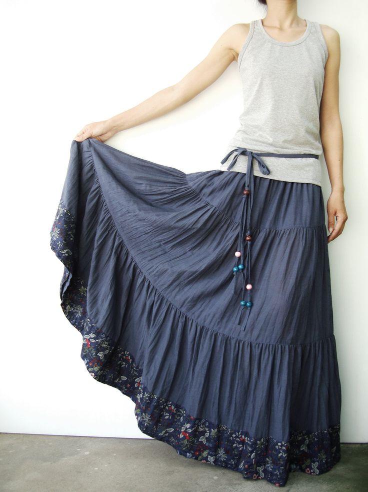 NO.25 Greyish Blue Cotton, Hippie Gypsy Boho Tiered Long Peasant Skirt. $42.00, via Etsy.