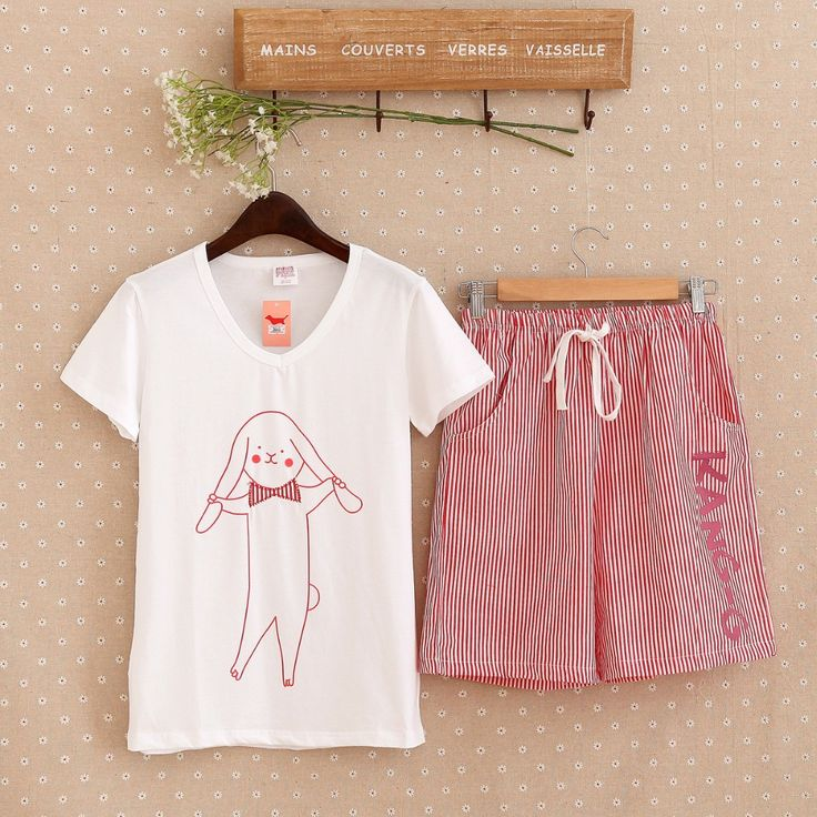 Купить товарСимпатичные пижамы указан с белым верхом и розовый газа брюки…
