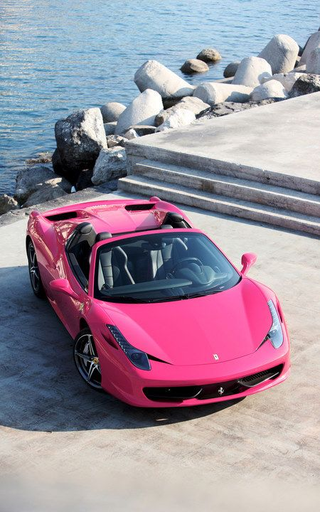 Ferrari 458 Pink ☆ Girly Cars for Female Drivers! Love Pink Cars ♥ It's the dream car for every girl ALL THINGS PINK! Sweet Jesus