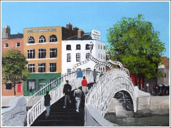 "Ha'penny Bridge Print 8"" x 10"" Dublin, streetscape, Ha'penny Bridge. http://www.marketdirect.ie/Ha%E2%80%99penny-Bridge-Print"