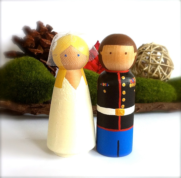 Items Similar To Army Marines Wedding Cake Topper Custom Uniform Bride And  Groom Navy Fire Man Woman Marines Navy Sailors Police Man Wood Peg Dolls On  Etsy