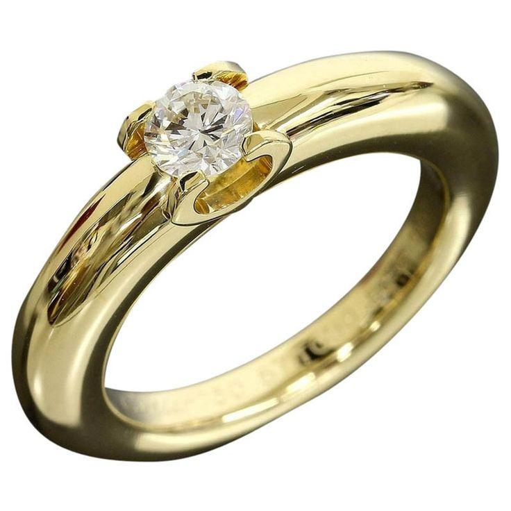 CARTIER Diamond Ring 0.309ct 18k Yellow Gold US5.5 EU50 W/Box