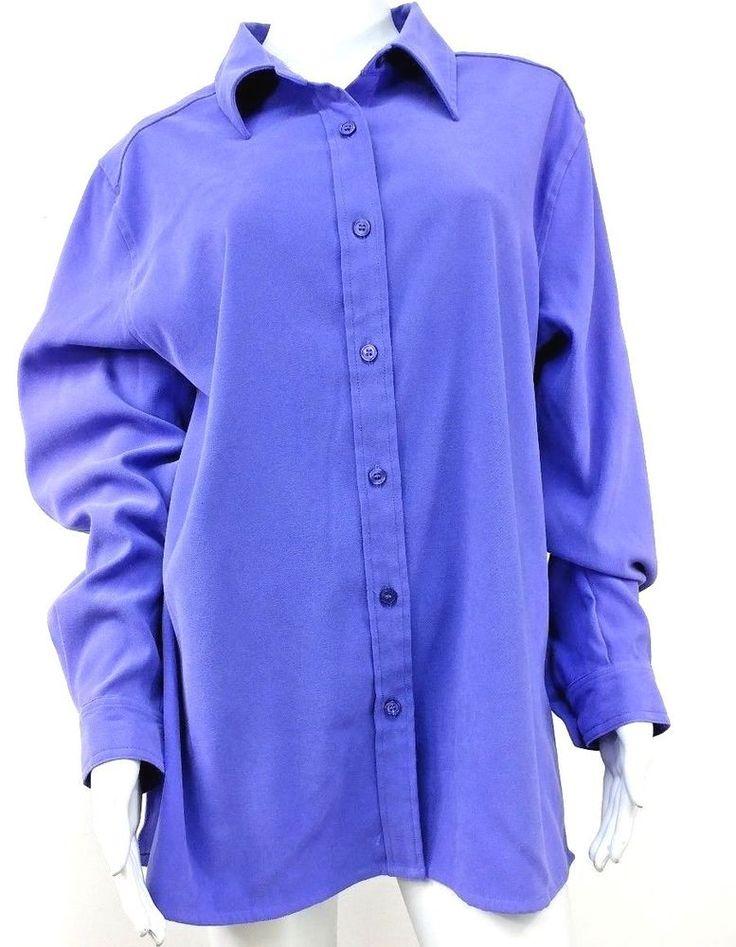 d & co. Womens Size Medium Purple Shirt Long Sleeve Button Up #DenimCo #ButtonDownShirt