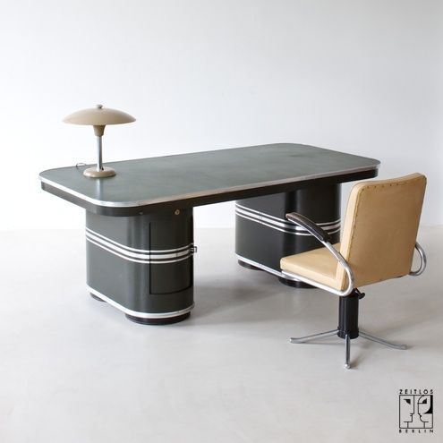 "Streamline Modernist office table ""London"" by Mauser Waldeck in original olive paint - 8500 €"