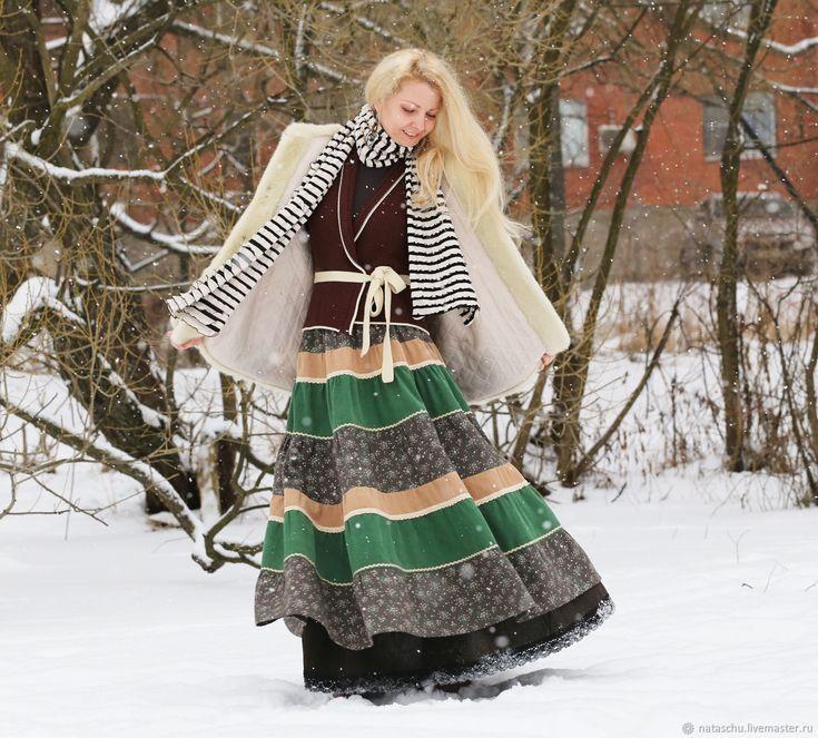 Юбка из микровельвета с льняным подъюбником. Бохо юбка – купить в интернет-магазине на Ярмарке Мастеров с доставкой