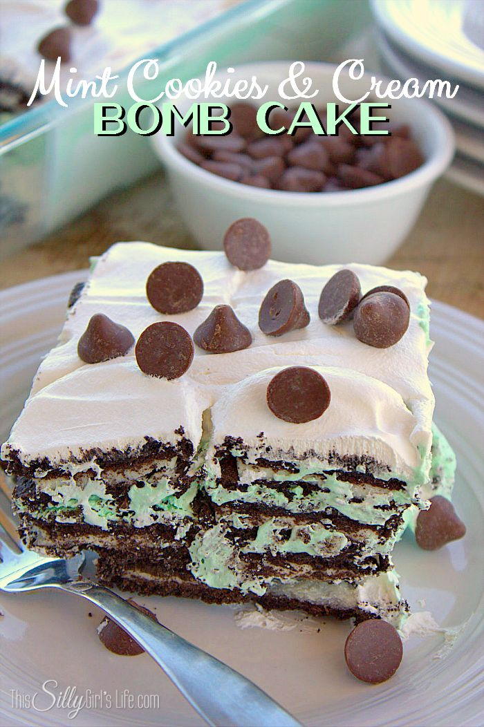 Mint Cookies and Cream Bomb Cake, an easy layered dessert loaded with mint chocolate morsels and Oreos!