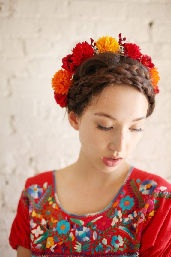 The Day of the Dead Marigold Crown by SpellboundCrowns on Etsy headband hairstyle and placement
