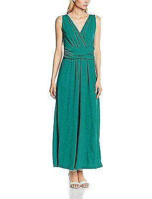 14, Green (Emerald Green), HotSquash Women's V Cross Over Maxi Dress NEW
