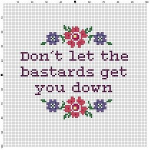Don't Let the Bastards Get you Down  - Cross Stitch Pattern - Instant Download