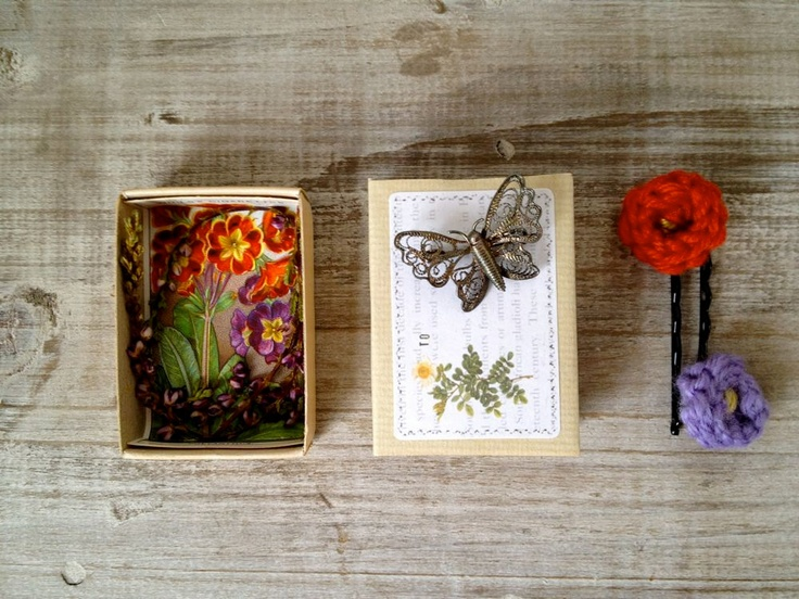 Altered vintage matchbox with a garden theme inside