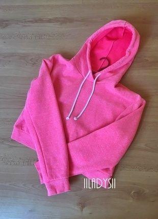 nie wymienie się! krótka bluza crop top różowa melanżowa róż melanż z kapturem ciepla