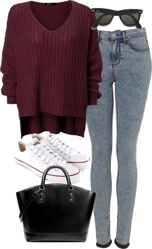 Eleanor inspired outfit for a football game  Cardigan, $21 /Skinny leg jeans/ Converseshoes, $60 / Zarabag/ Ray-Banwayfarer sunglasses