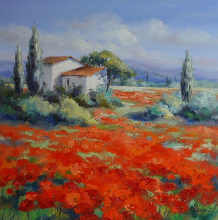 ROT! Leuchtend rote Mohnfelder in einer Provence Landschaft mit Zypressen | Gemälde von Ute Herrmann #red# oilpainting #fineart #landscapeart
