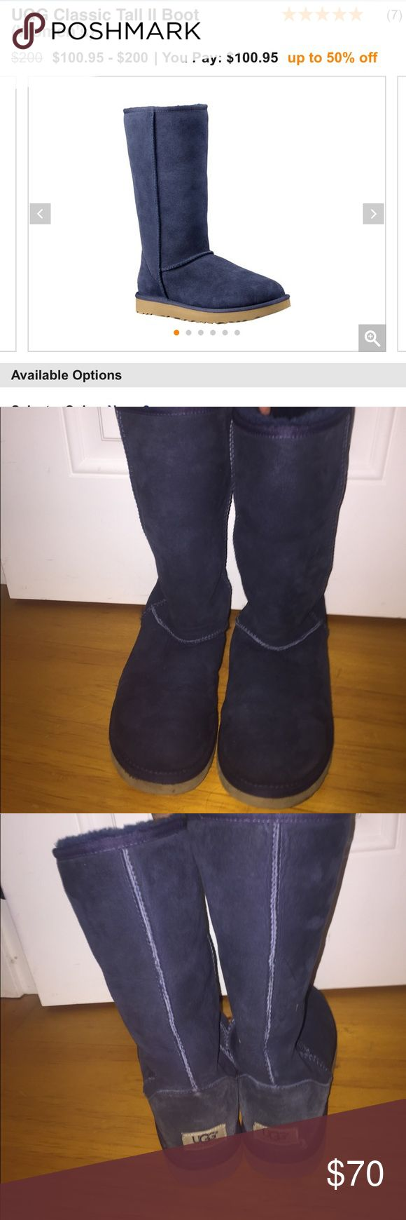 NAVY BLUE UGGS!!💙 Worn once, tall navy blue uggs! Genuine leather & genuine sheepskin. Tag says they're a size 6 but they are a size 8 I swear! UGG Shoes Winter & Rain Boots