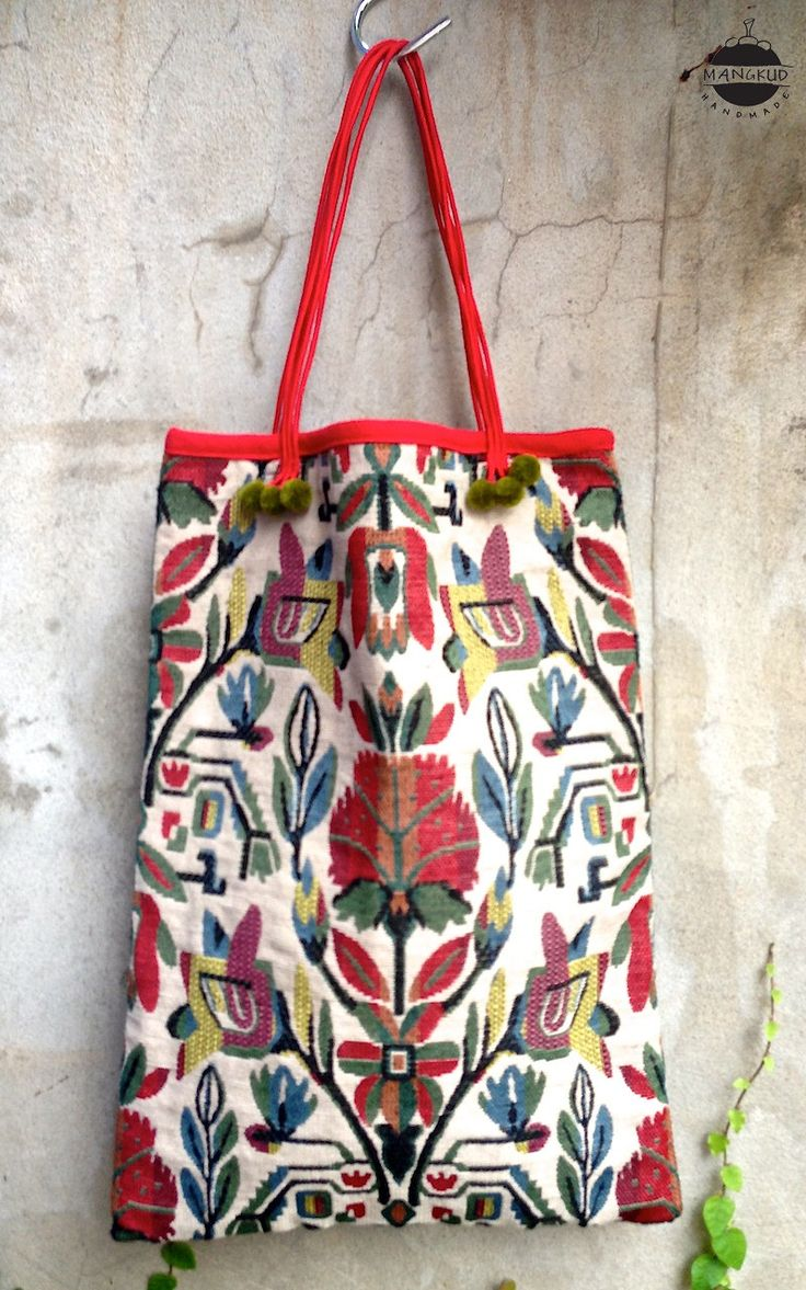 This tote bag is handmade from original cotton from Thailand with a Peruvian-floral pattern, this tote is light, strong, and beautiful.