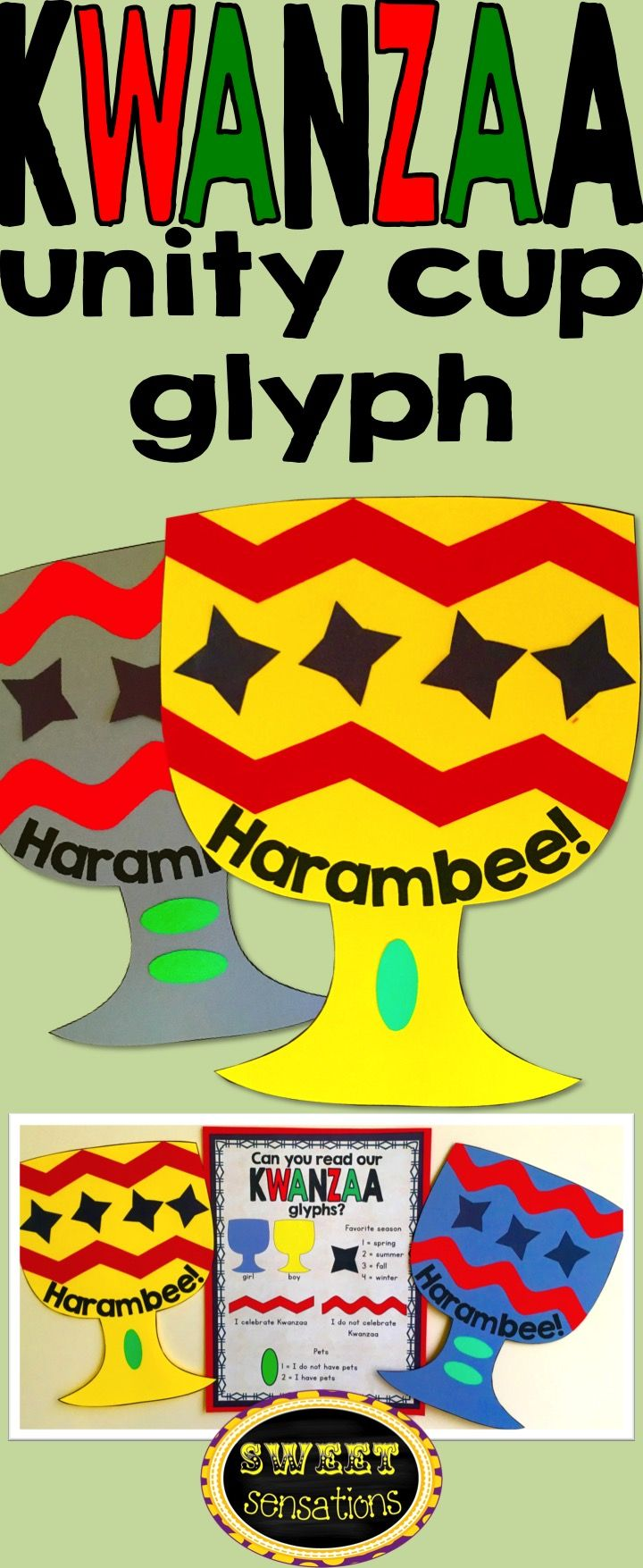 Kwanzaa simple unity cup craft or glyph for pre-school, kindergarten, first and second grade.