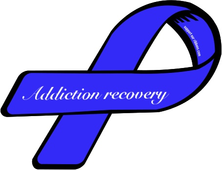 Addiction recovery awareness ribbon