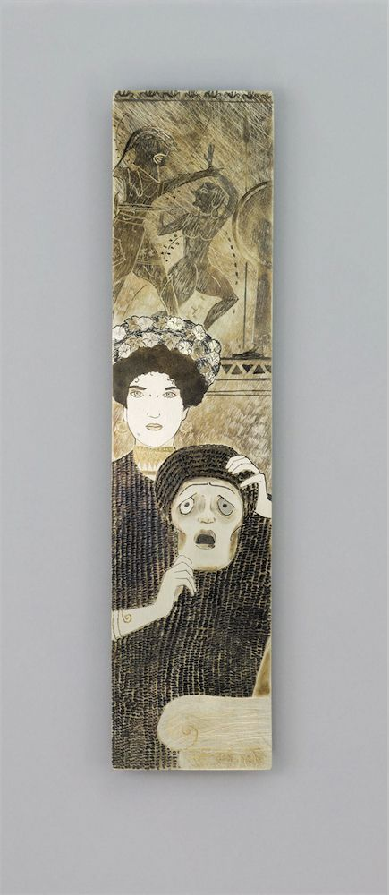 This bookmark is drawn from the 1897 allegorical painting, Tragedy, by Austrian Master Gustav Klimt (1862-1918). Subtle hue variations from metal oxidation and a vague sense of movement in the surface engravings pull the attention magnetically and irresistibly to the Tragedy. It is an enigmatic and refined bookmark, marked by the unmistakable Viennese style.