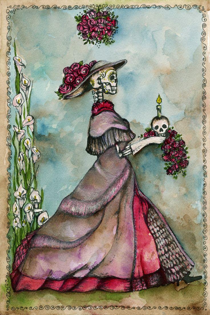 Victorian GothicArt - Dia de los Muertos - La Cartrina Romance - Romantic Gothic - Pastel Goth - Victorian Goth - Romantic Gothic Wedding - La Catrina by OlivosARTstudio on Etsy