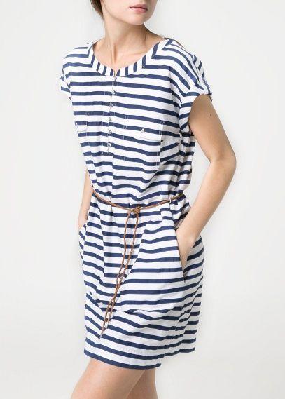 Vestido chemise listrado http://vestidododia.com.br/modelos-de-vestido/vestidos-chemise/vestidos-chemise/ #fashion #dresses