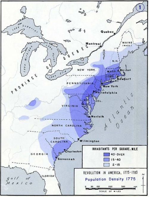 Population density of the 13 colonies in 1775.