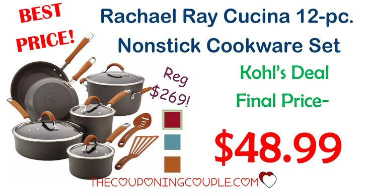 HOT HOT HOT PRICE! The Rachael Ray Cucina 12-Pc Nonstick Cookware Set  is only $48.99! You read that right-- ONLY $48.99 (reg $269.99!) Don't miss out on this awesome deal!  Click the link below to get all of the details ► http://www.thecouponingcouple.com/rachael-ray-cucina-12-pc-nonstick-cookware-set/ #Coupons #Couponing #CouponCommunity  Visit us at http://www.thecouponingcouple.com for more great posts!