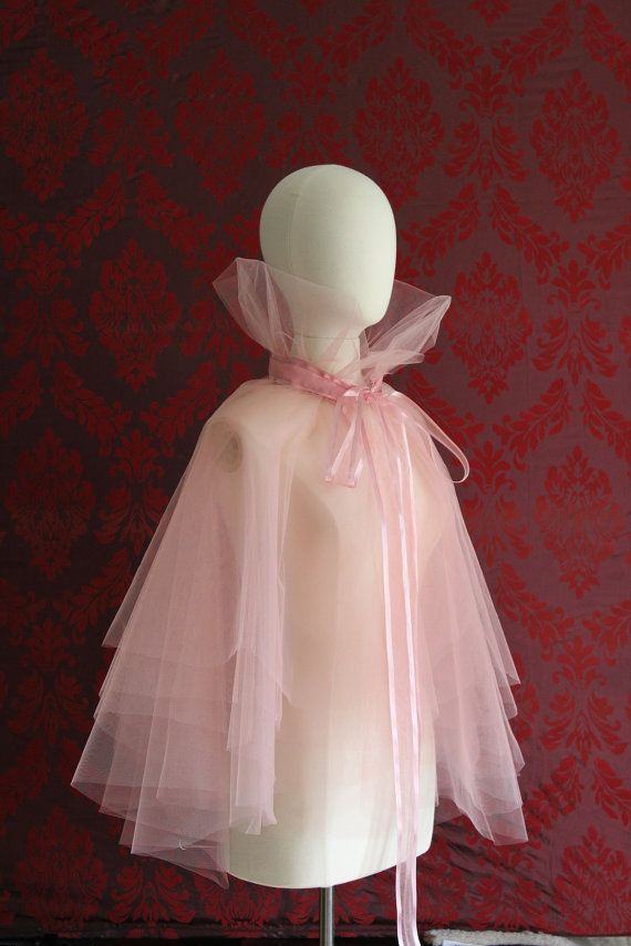 Good Fairy Pink Layered Tulle Cape with Silk Organza bow by Mascherina, $125.00