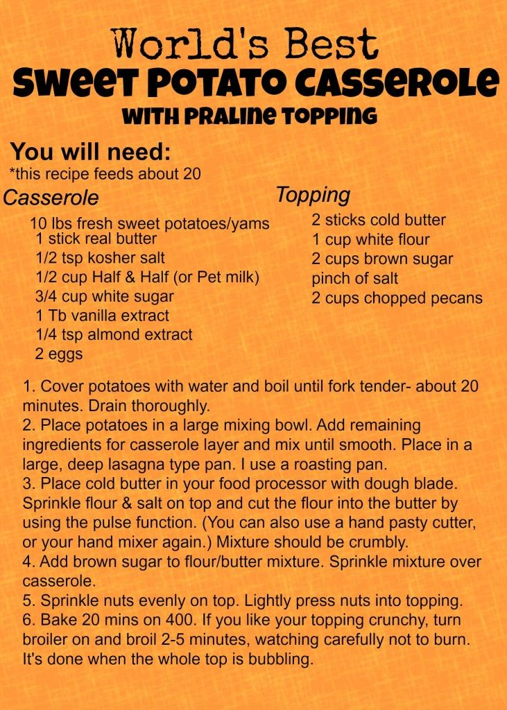 World's Best Sweet Potato Casserole  with praline topping Secret Family Recipe #thanksgivingfood