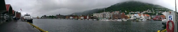 Bergen, a city in the west of Norway. Although the weather was bad, the town was lovely!
