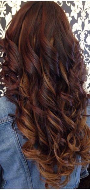 Reddish brown hair with blonde peekaboos