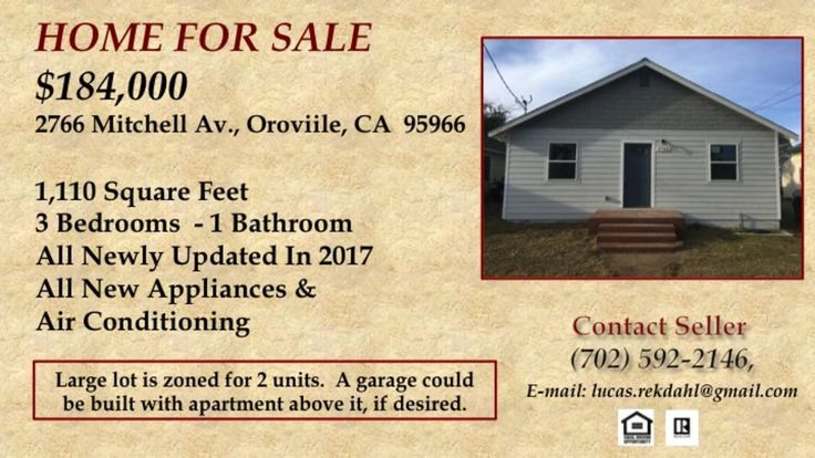 Houses under $200,00 in Oroville, CA  https://hitechvideo.pro/USA/CA/Butte/Oroville/2766_Mitchell_Ave_.html  House for sale in Oroville, CA  $184,000, 3 berms, 1 bath, 1,100 sq ft.  Large lot for further development.