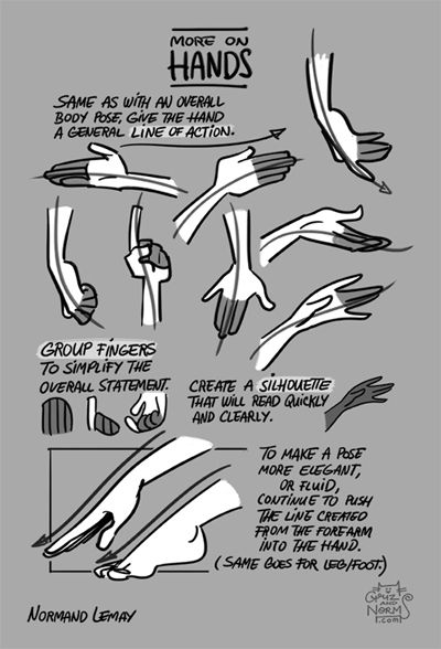 Tuesday Tips - More on HandsCreate more appealing hands on your character(s) by:-creating a line of action (appeal, simplicity)-grouping fingers as much as possible to simplify the shape-thinking of the overall silhouette to create a hand that's as clear in its function as possible.norm