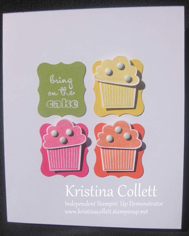 Stampin' Up! CAS Card  by Kristina Collett - colorful cupcakes