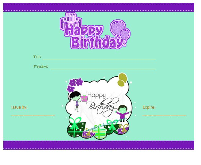 Blue birthday gift certificate template Beautiful Printable Gift - birthday gift coupon template