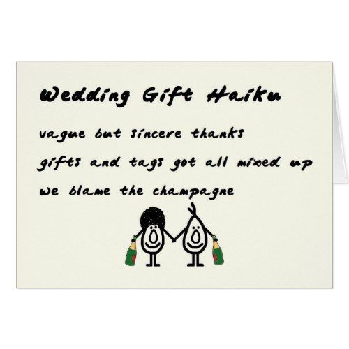 Wedding Gift Haiku - A Funny Thank You Poem