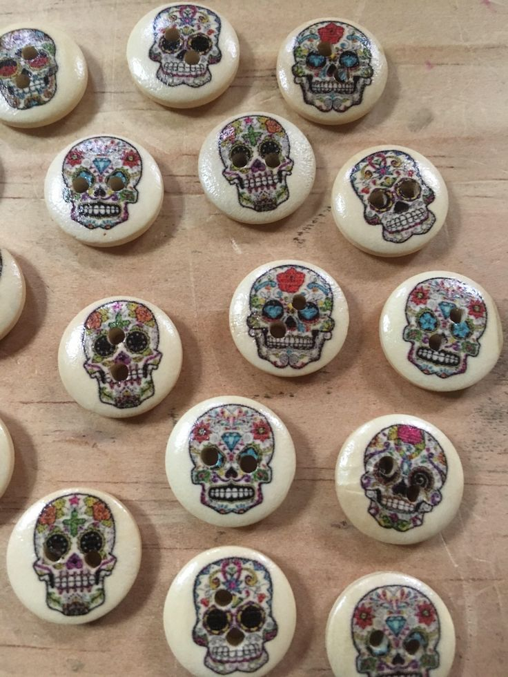 A personal favourite from my Etsy shop https://www.etsy.com/au/listing/539676013/sugarskull-buttons-mixed-coloured-round