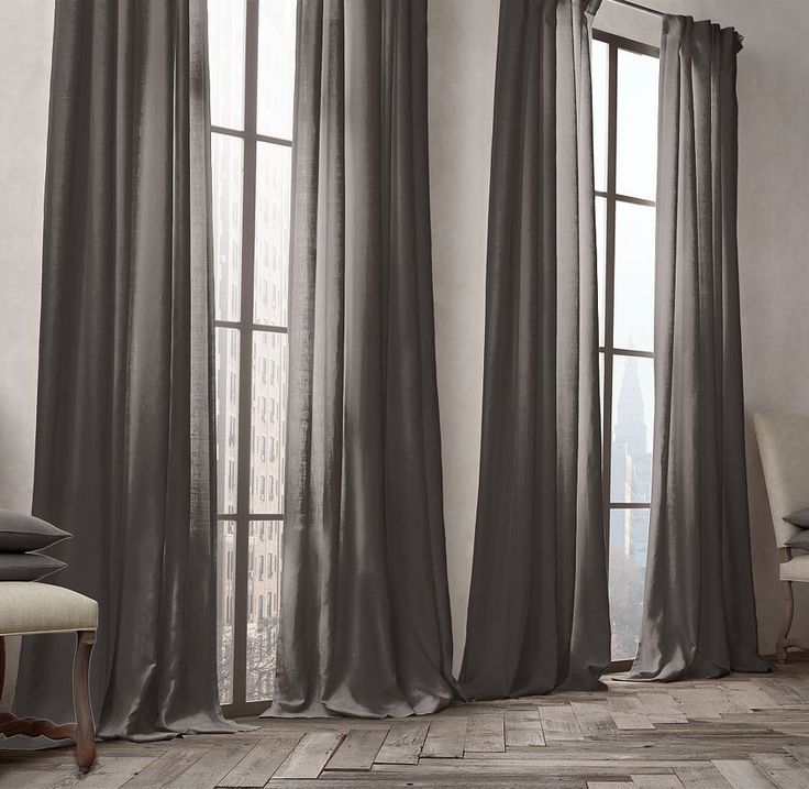 In indigo or charcoal belgian opaque linen drapery for Linen shades window treatments