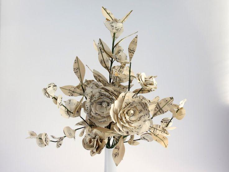 Sheet Music Bouquet, Home Decor, Paper Flower Arrangement, Music Bouquet by CeeBeeRecycle on Etsy https://www.etsy.com/listing/267958842/sheet-music-bouquet-home-decor-paper