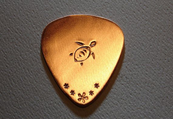 Copper guitar pick with sea turtle by NiciLaskin on Etsy, $6.00