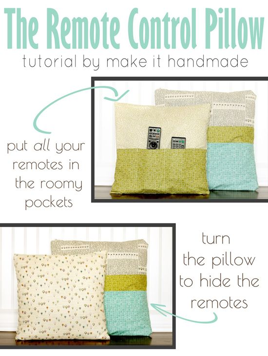 DIY remote control pillow to hide and keep all your remotes!