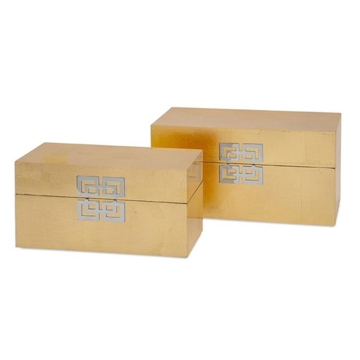 Imax Set of 2 Asian Inspired Gold Leaf Bold Fabric-Lined Decorative Boxes 13.25