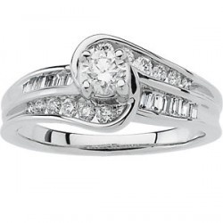 This very fashionable designer engagement ring comes with a high quality .33 carat round center diamond and a combination of similar quality but smaller round and baguette cut accent diamonds (total .75 carats) in a 14K white gold setting. This ring will give you that burst of fire and sparkle that women like. A matching wedding band is also available and is priced separately.