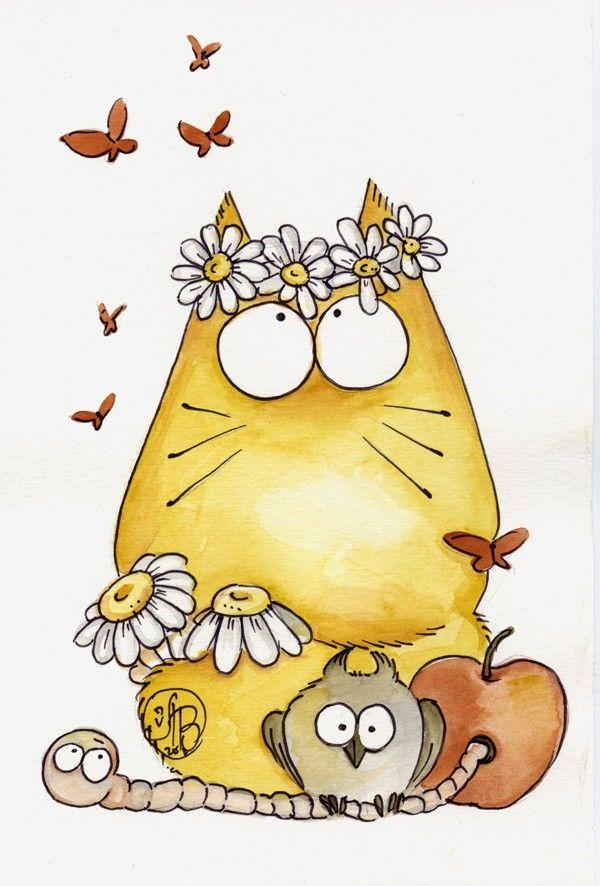 OOPSIE DAISY - Original watercolor 7 x 9 inch - CAT DAISY OWL - Cats with attitude. $30.00, via Etsy.
