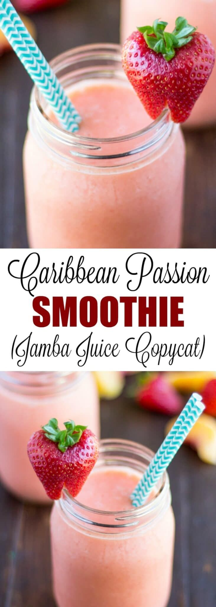 This Caribbean Passion Smoothie Recipe is a copycat of the popular Jamba Juice version: Fruity and delicious perfection!