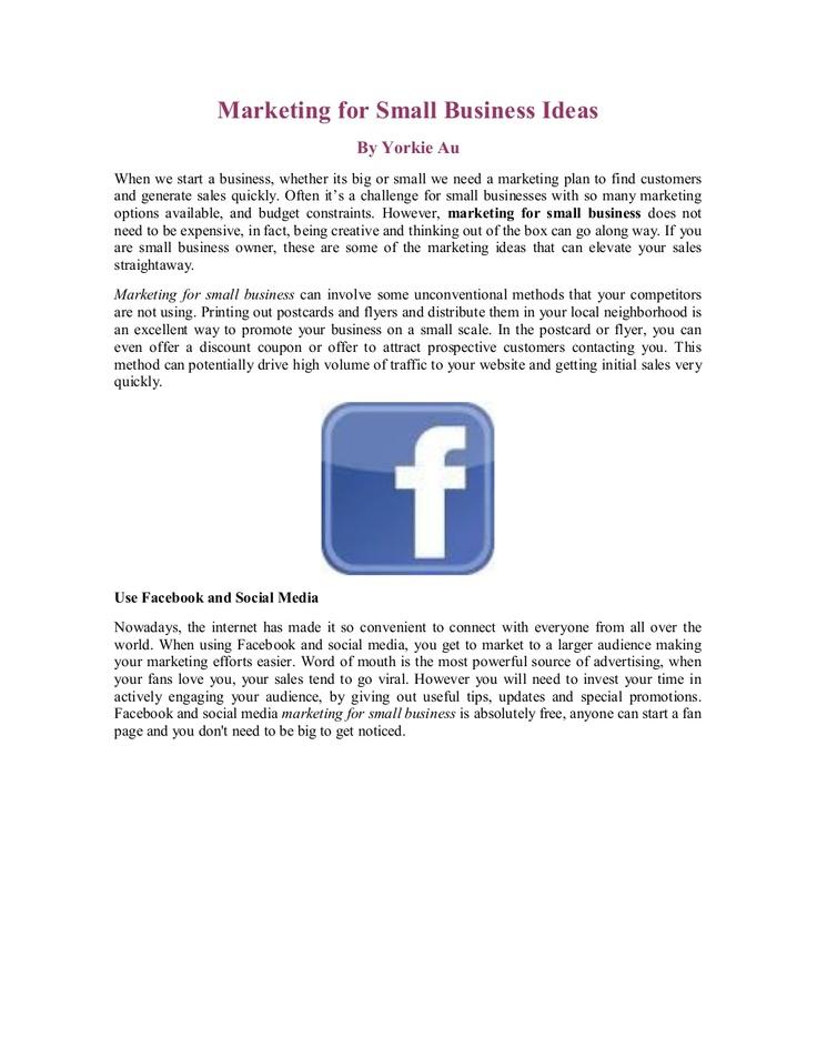 marketing-for-small-business-ideas by Yorkie Au via Slideshare