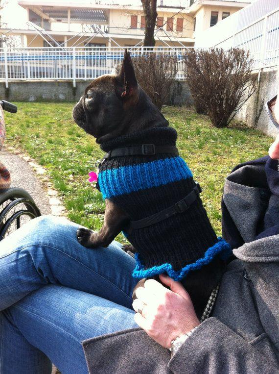 French Bulldog Sweater For Dogs BlackBlue by EsmeraldasCrochet, €30.00  $42.37  SO CUTE!